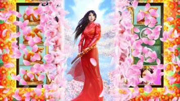 Sakura Fortunes slot princesse japonaise fleurs de cerisier sabre tunique rouge