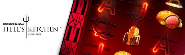 Un aperçu de la machine à sous Hell's kitchen avec le logo sur sa gauche